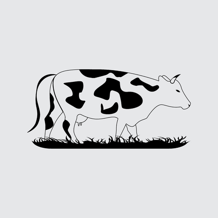 pastureland: Vector silhouettes cow. Simple icon