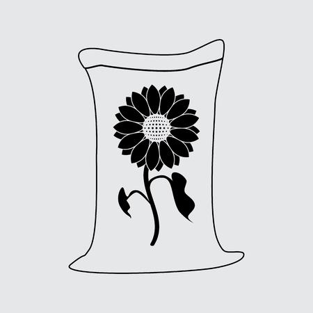 seeds bag vector silhouette simple icon Иллюстрация