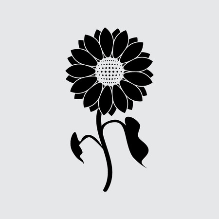 sunflower icon vector. Black simple style.