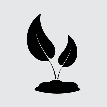 seedling: Seedling vector silhouette. Simple icon