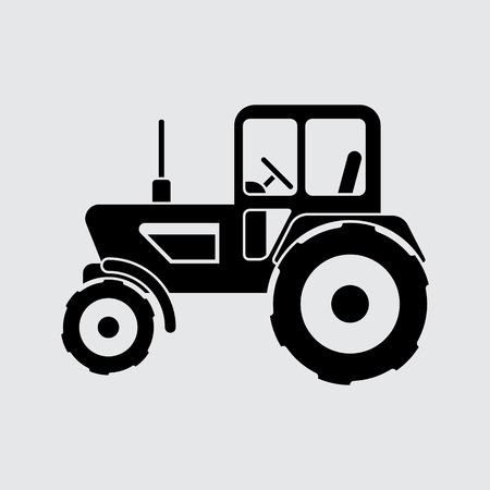 agrimotor: agrimotor tractor icon vector. Black Simple style.