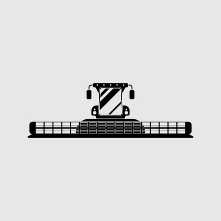 combine harvester: Combine harvester vector silhouette. Simple icon