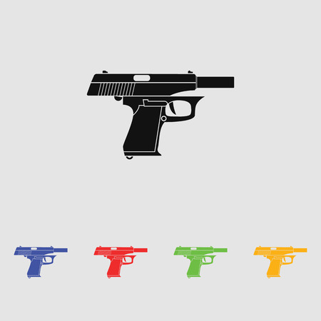 handgun: Classic dolled pistol. Vector simple black icon. Old handgun silhouette. Flat style for web and mobile.