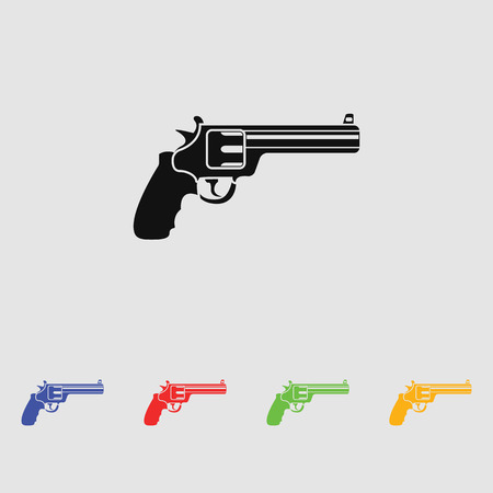 magnum: magnum revolver black simple icon. Vector. Flat style for web and mobile. Illustration