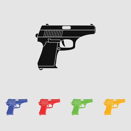 Classic pistol. Vector simple black icon. Old handgun silhouette. Flat style for web and mobile.