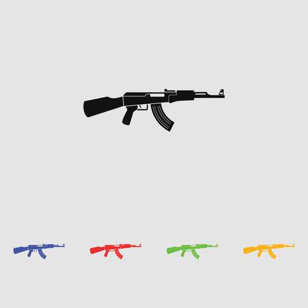 gun silhouette: AK47 black simple icon. Kalashnikov machine gun silhouette.
