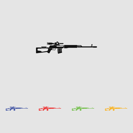 vintage rifle: Sniper rifle vector black simple icon. Flat style for web and mobile.