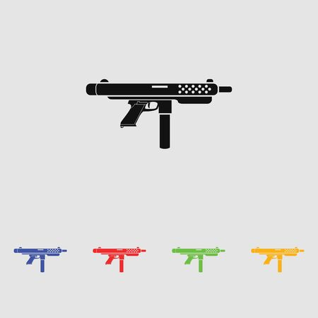 the fbi: Weapon black simple icon. Vector. Flat style for web and mobile.