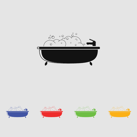 bath filled with water and foam vector icon for web and mobile. flat style.