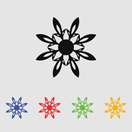 dahlia: flores abstractas. Vector negro simple icono para web y móvil. estilo plano.