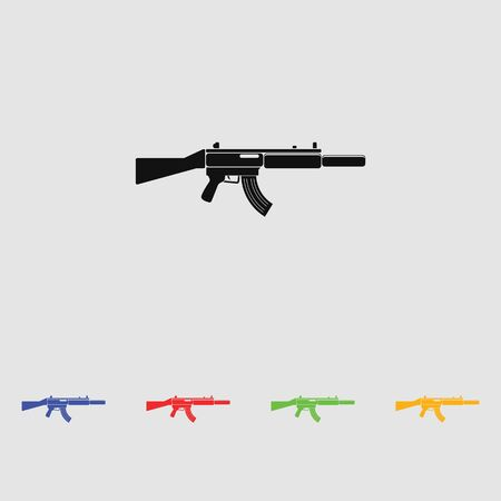 the fbi: MP-5 Weapon black simple icon. Vector. Flat style for web and mobile. Illustration