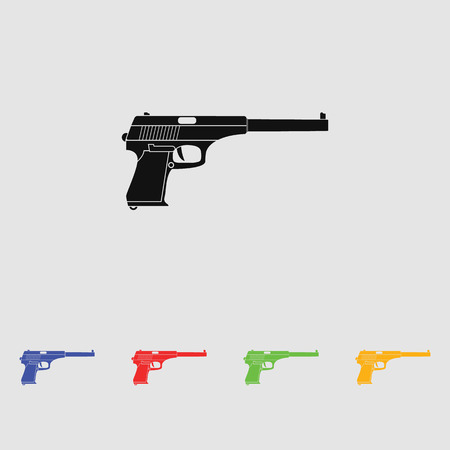 handgun: Powerful pistol, gun, handgun, vector. Black simple icon. Flat style.