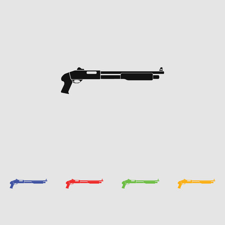 black powder pistol: Shotgun black simple icon. vector illustration. Flat style for web and mobile.