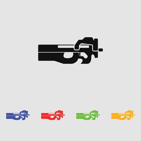 firearms: Firearms P-90. Black simple icon. Flat style for web and mobile Illustration