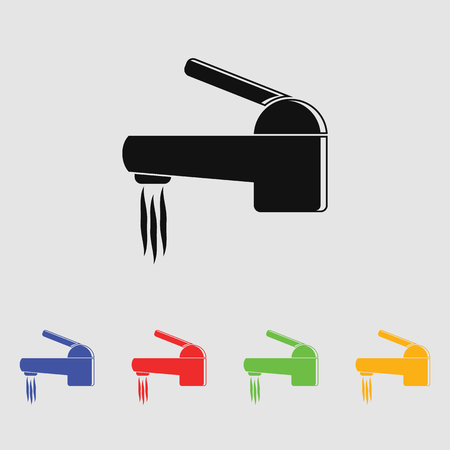 economize: water faucet vector icon. Flat style for web and mobile