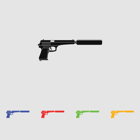 the silencer: Pistol with silencer black simple icon. Flat style for web and mobile. Illustration