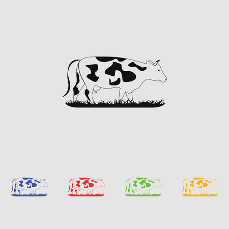 pasturage: Vector silhouettes cow. Simple icon