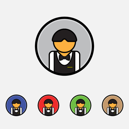 busboy: Waiter Icon Vector, Flat style for wan and mobile Illustration