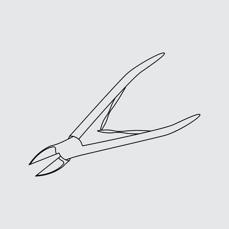 nippers: manicure nippers line icon. Flat style