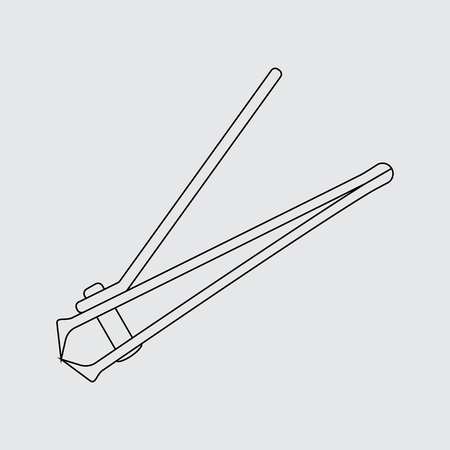 clipper: stainless steel nail clipper vector illustration. Flat style. line icon.