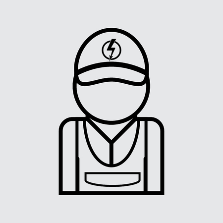 adjuster: Electrician simple vector icon. Line style for web and mobile