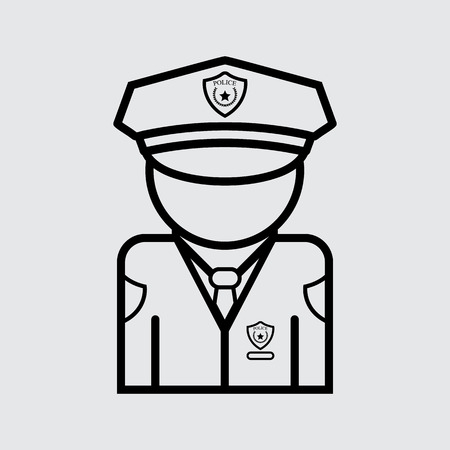 Policeman Vector icon. Flat style