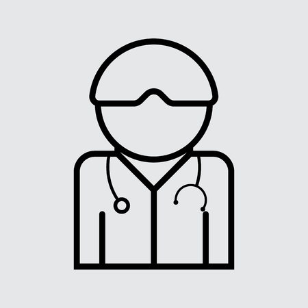 mini job: Doctor with stethoscope around his neck vector icon. Flat style