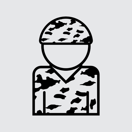 mini job: Soldier vector icon. illustration for web and mobile design. line style.