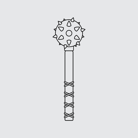 Old medieval iron mace isolated. Flat style, Line vector icon