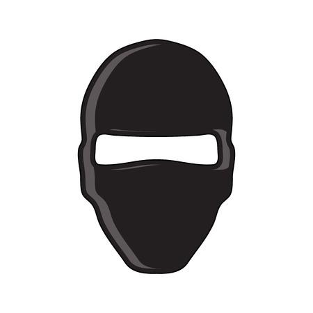 Balaclava 테러리스트 군사 마스크 간단한 아이콘입니다. 플랫 스타일. 만화 스타일입니다. 웹 및 모바일에 대 한 군사 기호입니다.