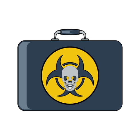 radiactividad: Radiation bag icon.Flat style. Cartoon style. Military symbol for web and mobile.