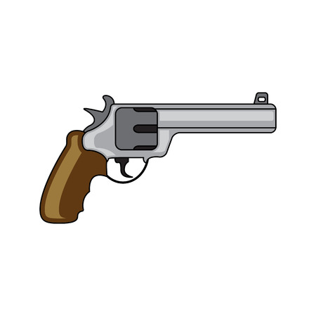 six gun: Military revolver. Revolver security caliber. Flat style. Cartoon style. Military symbol for web and mobile.
