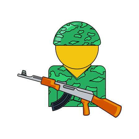 mercenary: soldier in camouflage with weapon. Flat style. Cartoon style. Military symbol for web and mobile. Illustration