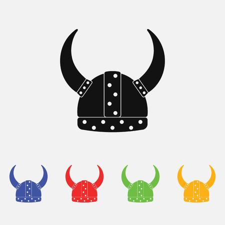 viking helmet flat icon Vector Illustration