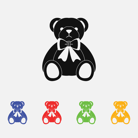 hairy arms: plush bear vector illustration. Flat style.