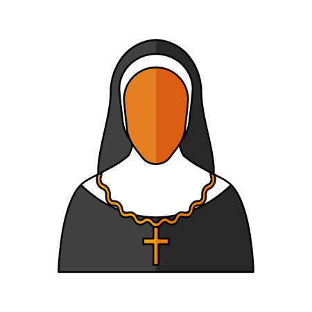 christian young: Nun Vector illustration. Religion icon. Silhouette. Flat style.