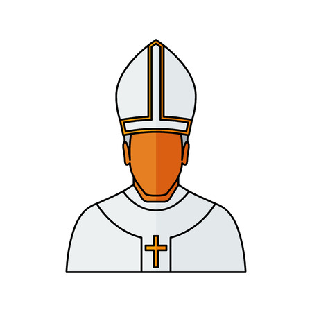 pope: pope Vector illustration. Religion icon. Silhouette. Flat style.