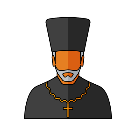 Orthodox priest Vector illustration. Religion icon. Silhouette. Flat style. Illustration