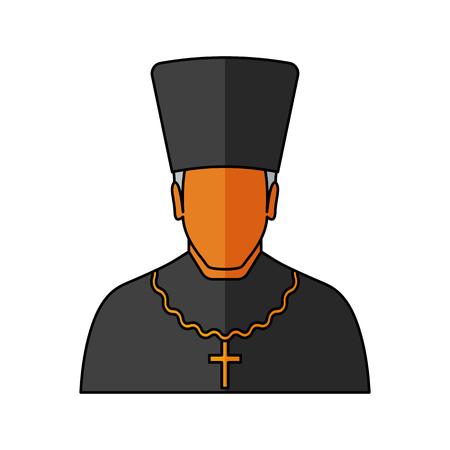Orthodox priest Vector illustration. Religion icon. Silhouette. Flat style. Illustration
