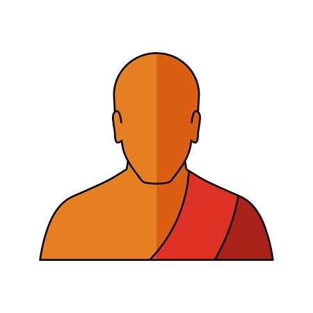 Buddhist monk Vector illustration. Religion icon. Silhouette. Flat style. Illustration