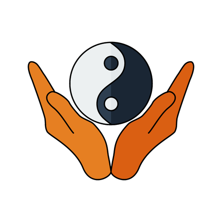 yang style: Vector illustration of hands holding yin yang symbol. Religion icon. Silhouette. Flat style.