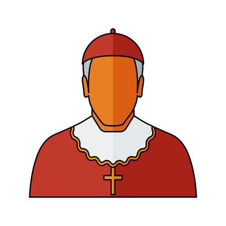 El cardenal - sacerdote católico Ilustración del vector. icono de la religión. Silueta. estilo plano. Ilustración de vector