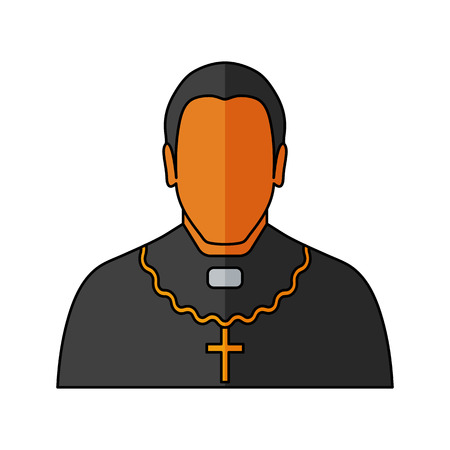 Orthodox priest Vector illustration. Religion icon. Silhouette. Flat style.