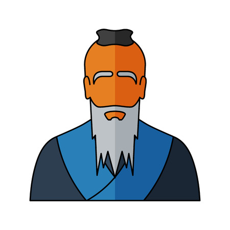 popular belief: Confucius Vector illustration. Religion icon. Silhouette. Flat style.