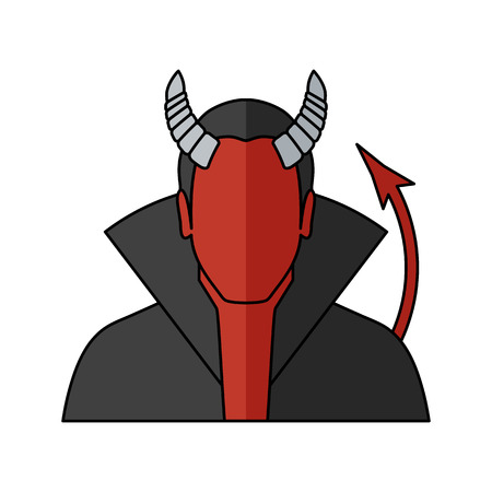Demon Vector illustration. Religion icon. Silhouette. Flat style. Illustration
