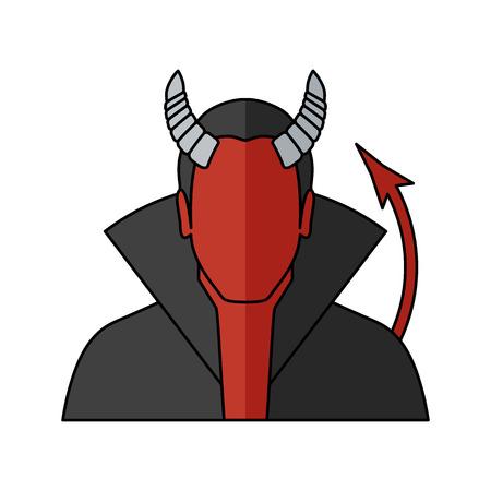 Demon Vector illustration. Religion icon. Silhouette. Flat style. Illustration