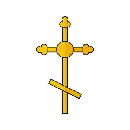 Vector illustration of cross. Religion icon. Silhouette. Flat style. Illustration