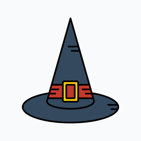 curse: Witch Hat for Halloween, vector icon. Illustration