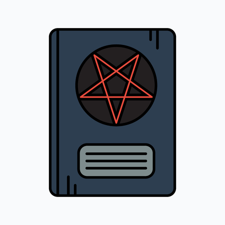 pentacle: Leather Book With Pentagram. Vector icon. Halloween illustration