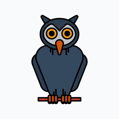 owl illustration: Owl Halloween illustration, Vector icon Illustration